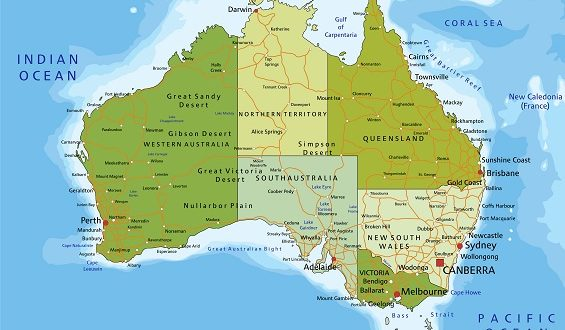 Highly detailed editable political map. Australia.